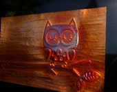 Fired Copper Owl on Branch