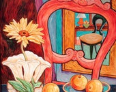 Original Painting Gerber Daisy In McCoy Vase With Coral Chair