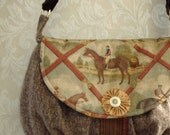 SALE / Equestrian Petite Messenger Bag In Brown Rust And Gold Wool Tweed For Fall