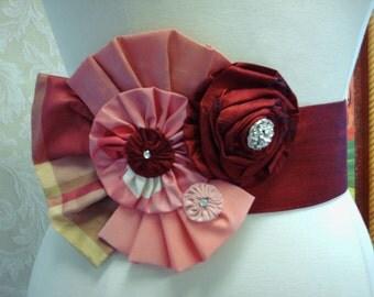 Ruby Red Bridal Belt, Plaid Silk Bow, Weddings,  Reception Dress Sash, Weddings, Blush Pink Silk Bow, Rhinestones, Wedding Dress Sash