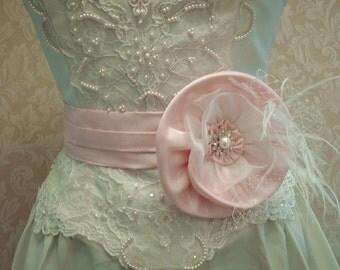 Powder Pink Bridal Belt / Floral Feather Bridal Belt, Feathers, Rinestones, Pearls, Weddings, Carolina Moon Designs - Carolynn Redwine Geer