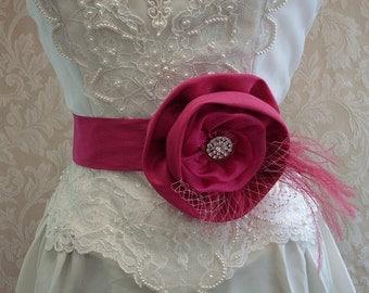 Floral Bridal Sash Belt  /  Pink, Fuschia Bridal Sash, Feathers, Bridcage Veil, Bridal Accessories, Bridesmaids Belts, Rhinestones