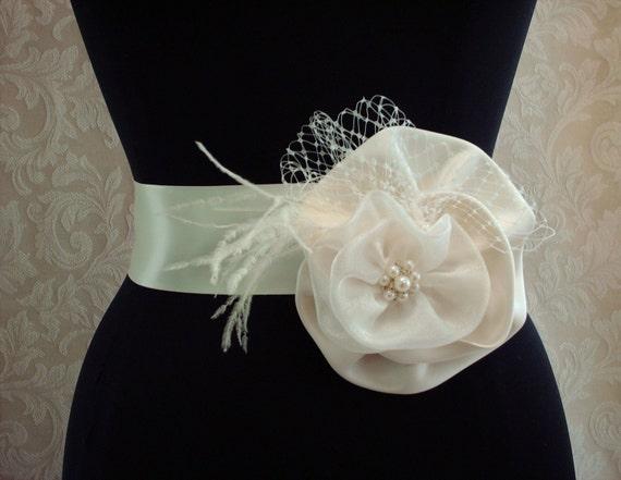 Ivory Floral Bridal Sash, Wedding Belt Sash, Bridal Wedding Sash, Feathers, Rhinstones, Pearls, Birdcage Veil, Bridesmaids Accessories