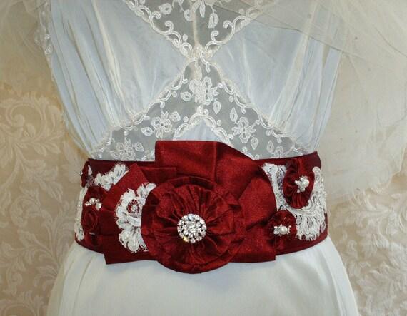 Sash red wedding christmas wedding ruby red bridal sash bow sash