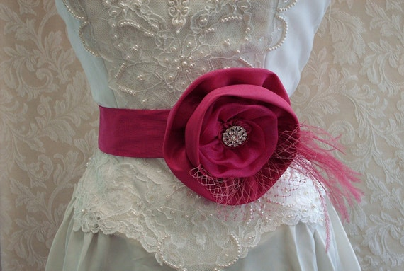 Floral Bridal Sash Belt  /  Pink, Fuschia Bridal Sash, Feathers, Bridcage Veil, Bridal Accessories, Bridesmaids Belts, Rhinestones