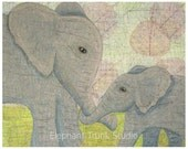 Mommy and Me, 8x10 nursery elephant art print of mom and baby elephant in soft colors