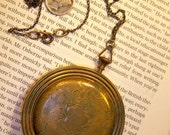 Antique Victorian Steampunk Funky Locket Compact Necklace