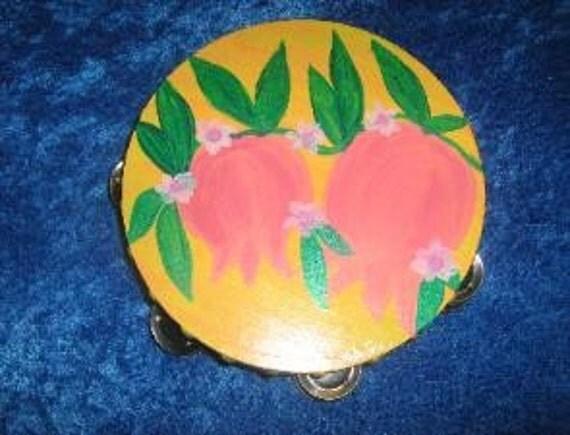 "Yellow melon pink  Pomegranate 10"" inch hand painted Tambourine"