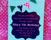 navy, teal and hot pink bunting invite (handmade)