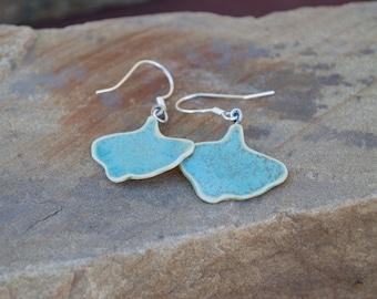Green Gingko Leaf Earrings