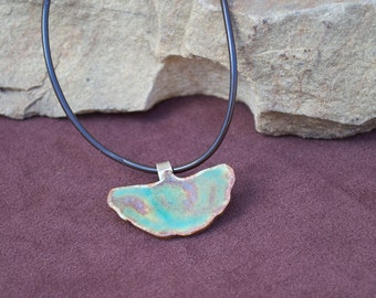 Copper Green Gingko Necklace