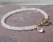 Rainbow moonstone 14k gold filled tennis gemstone charm bracelet by Lucent Jewels