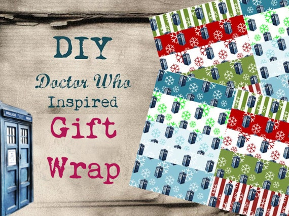 Doctor Who Inspired DIY Geekery Christmas Gift Wrap, 10 Styles, PDF Download, Printable Wrapping Paper