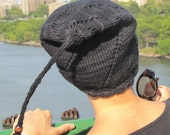 Charcoal-colored knit winter hat