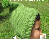 Knitting Pattern: Urban baby pixie - hood with pompom ties