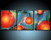Modern Original Abstract Painting 20x48 Colorful Urban Textured Acrylic Fine Art by MARIA FARIAS