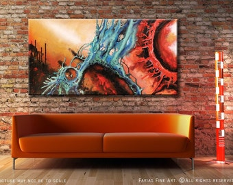 Abstract Painting Modern ORIGINAL Acrylic FIne Art on a 48x24 Canvas by Federico Farias