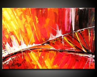 Abstract Painting MADE TO ORDER Original Modern 24x36 Canvas Acrylic Orange Yellow Red Fine Art by Federico Farias