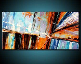 Abstract Painting MADE TO ORDER Original Modern 48x24 Canvas Acrylic Blue Brown Orange Fine Art by Federico Farias