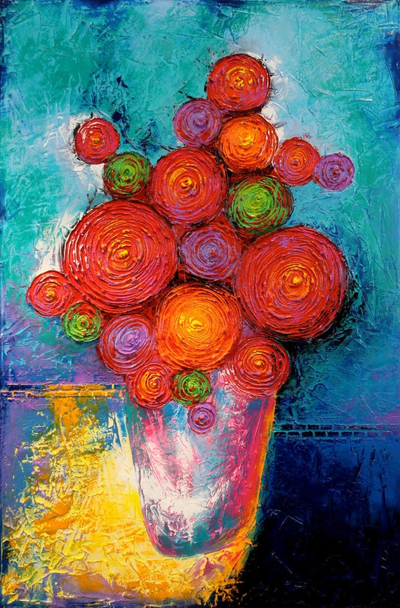 ORIGINAL Flowers on Vase Painting Textured Acrylic on a 24x36 Canvas Colorful Fine Art by Maria Farias