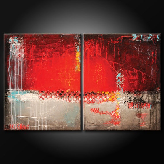 Modern Abstract Painting ORIGINAL Textured 20x32 Canvas Red Black Grey White Acrylic Urban Fine Art by Maria Farias