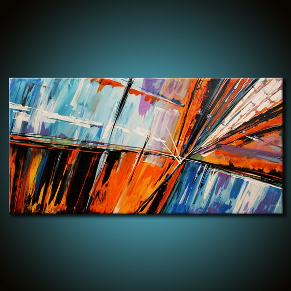 ORIGINAL Abstract Painting Modern 48x24 Canvas Acrylic Fine Art by Federico Farias (Reserved for Christine)