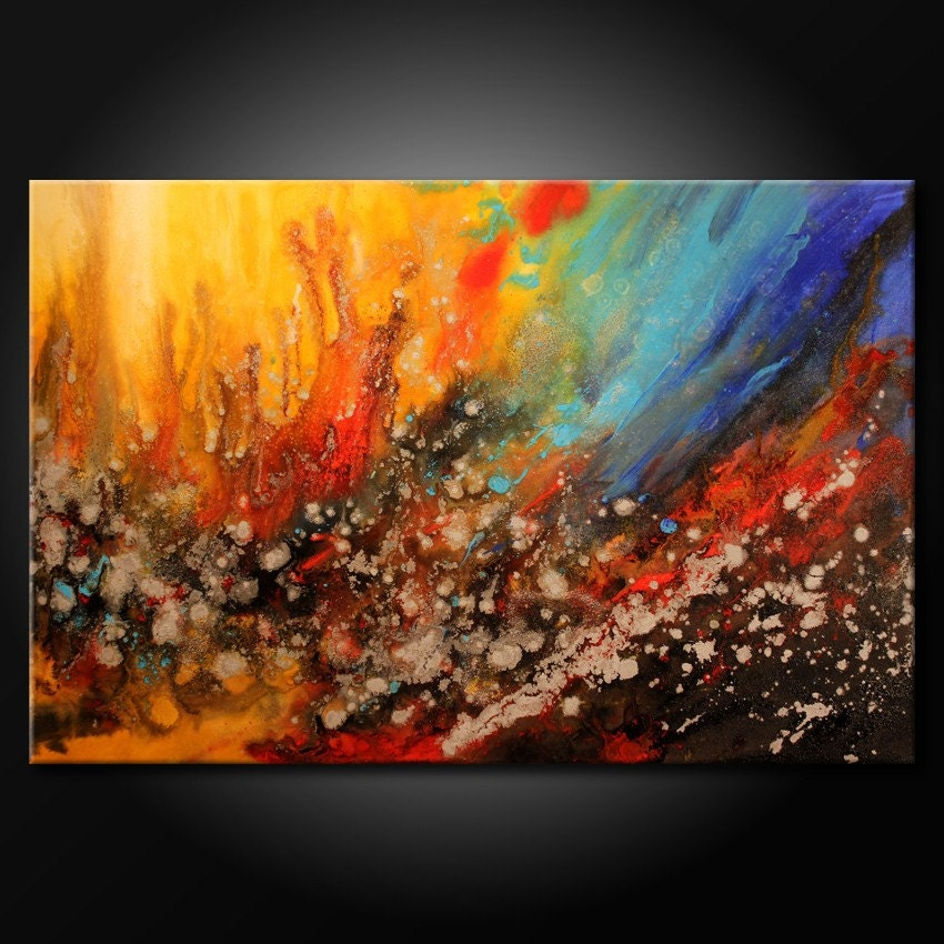 modern acrylic abstract painting original fine art colorful. Black Bedroom Furniture Sets. Home Design Ideas