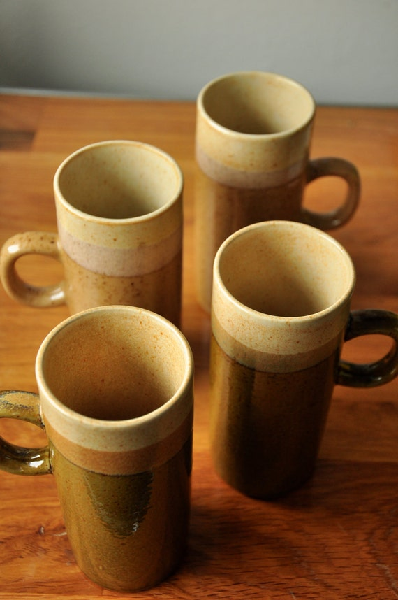 super tall slim coffee mugs, set of 4