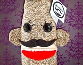 Moustache Sock Monkey Wine Sleeve