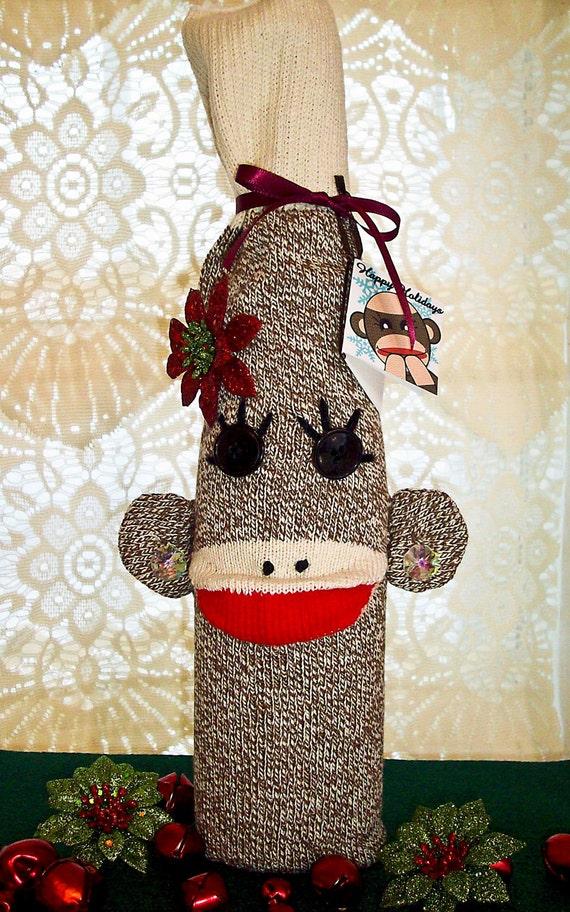 Christmas Sock Monkey Wine Sleeve