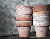 Vintage Terra Cotta Garden Pots - Fine Art Photograph 5x7 - Home Decor Spring Summer Gardening- Featured on the FRONT PAGE dreamt elitett - OneDecember