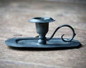 Vintage Chamberstick, Solid Pewter Candlestick, Chamber Candle Stick, Candle Holder with Handle - Shabby Chic, Aged, Lovely Patina, Rustic Home Decor, Romantic, Country