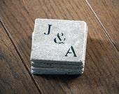Personalized Coaster Set of 4, Natural Marble Coasters, Custom Engagement Wedding Housewarming, Rustic Decor