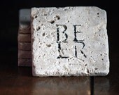 BEER Natural Tumbled Marble Handpainted Set of 6 Coasters Under 25 Rustic Home Decor, Man Cave, Dorm Dad Fathers Day Gift for Guy