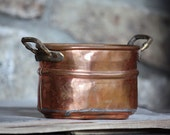 Vintage Copper Planter Small Oblong Pot with Brass Handles, Decorative Spring Gardening Rustic Home Decor Small Unique Summer Garden for Mom