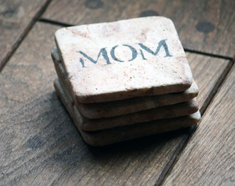 """Coaster Set - Natural Tumbled Marble Coasters for """"MOM"""" For Her Handmade Gift New Mom Hand Painted Home Decor Mother's Day Holiday"""