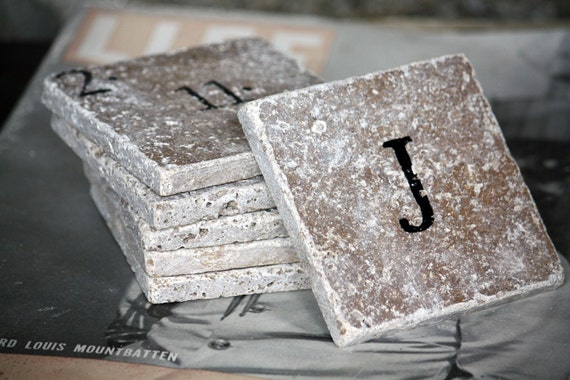 Set of 6 Personalized Coasters with Special Date and Monogram, Initial Custom Handmade Hand Painted Natural Tumbled Marble Rustic Home Decor