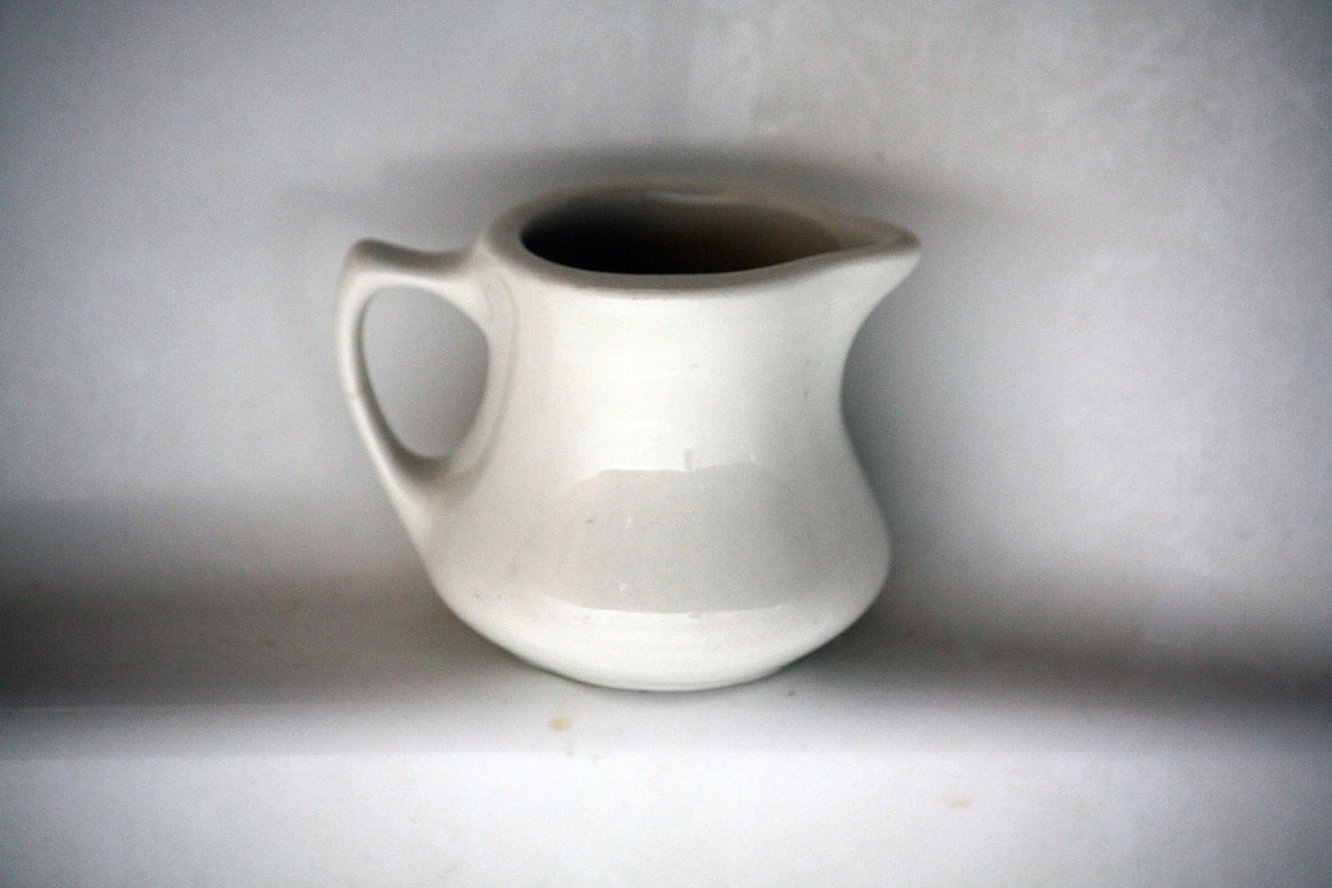 Vintage Small White Ceramic Pitcher Creamer Home by eDecember