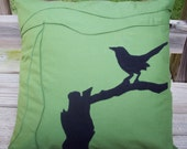 Bird Silhouette Pillow Cover in Green