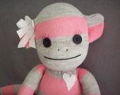 Sock monkey doll in pink and grey stripes- Savannah