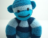 Sock Monkey for Babies in Blue Stripes