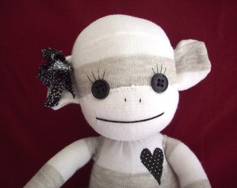 Sock Monkey in Grey and White, Vivi