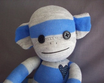 A Sock Monkey in Blue and Grey Stripes- Pierce