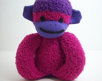 Baby's First Sock Monkey in Deep Pink and Purple