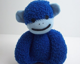 Baby's first sock baby safe stuffed toy monkey in blue, blue monkey nursery, child safe toy for newborns and toddlers, baby shower gift