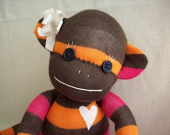 Sock monkey stuffed toy, stuffed animal monkey, monkey made from socks, sock monkey doll