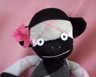 A Sock Monkey Doll in Black Argyle- Wednesday, sock monkey toy, monkey plush, sock monkey nursery