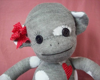 A Sock Monkey in Grey with Polka Dots- Josephine