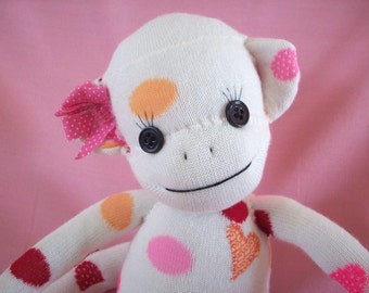 Sock Monkey stuffed toy, sock monkey stuffed animal, sock monkey plush toy in pink polka dots