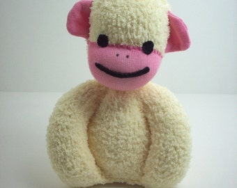 Sock monkey baby toy in yellow and pink, baby safe plush toy monkey, sock monkey stuffed toy, sock monkey nursery